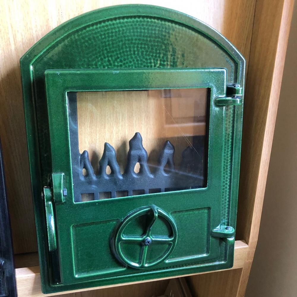 Madaras kisüveges ajtó huzatszabályzóval (zöld, zománcozott)